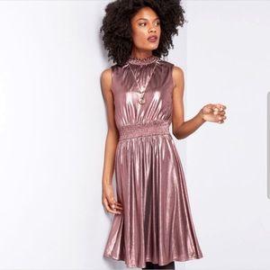 MODCLOTH Savor the Moment Metallic Mock Neck Dress
